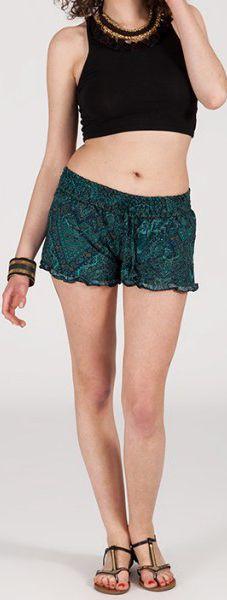 Short style ethnique aux motifs effet batik - Bleu/Vert 2 - Baccio 272123