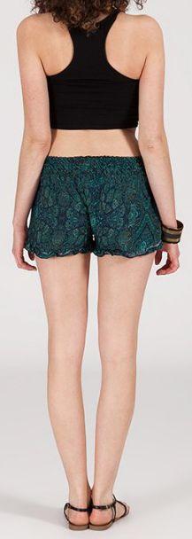 Short style ethnique aux motifs effet batik - Bleu/Vert 2 - Baccio 272124