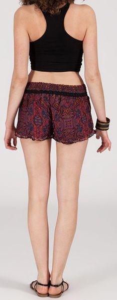 Short style ethnique aux motifs effet batik - Bordeaux - Baccio 272127