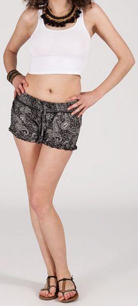 Short style ethnique aux motifs effet batik - Noir - Baccio 272117