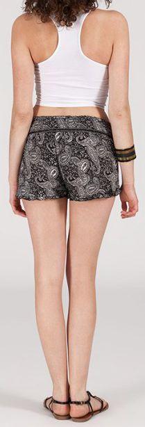 Short style ethnique aux motifs effet batik - Noir - Baccio 272118