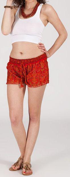 Short style ethnique aux motifs effet batik - Orange - Baccio 272121
