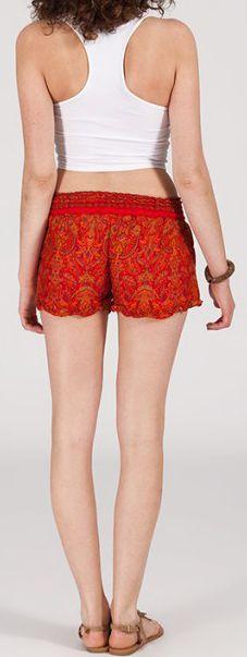 Short style ethnique aux motifs effet batik - Orange - Baccio 272122