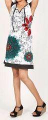 Superbe courte d'�t� - manches courtes - ethnique et color�e- Blanche - Alessa 272111
