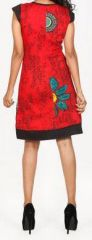 Superbe courte d'été - manches courtes - ethnique et colorée- Rouge - Alessa 272106