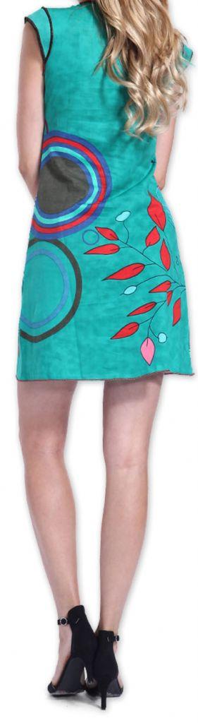 Superbe robe courte colorée et originale Bleue Corra 273424