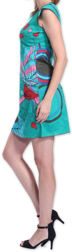 Superbe robe courte colorée et originale Bleue Corra 273425