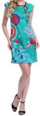 Superbe robe courte colorée et originale Bleue Corra 273426