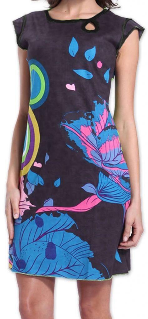 Superbe robe courte colorée et originale Grise Corra 273427