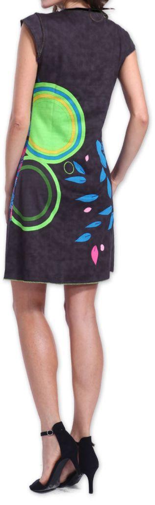 Superbe robe courte colorée et originale Grise Corra 273428