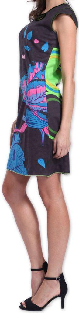 Superbe robe courte colorée et originale Grise Corra 273429