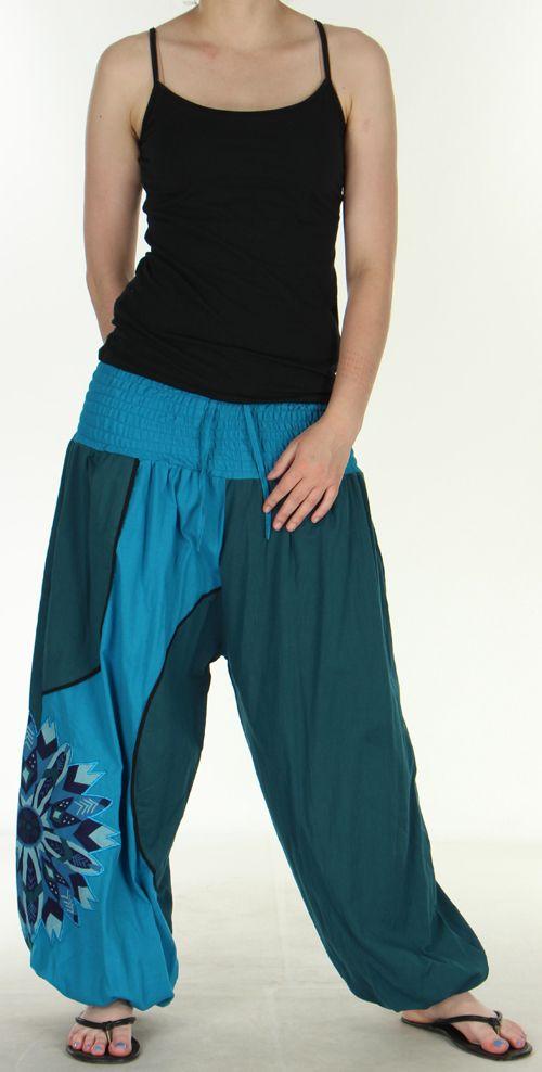 Superbe sarouel femme ethnique et original Bleu Uzima 273167