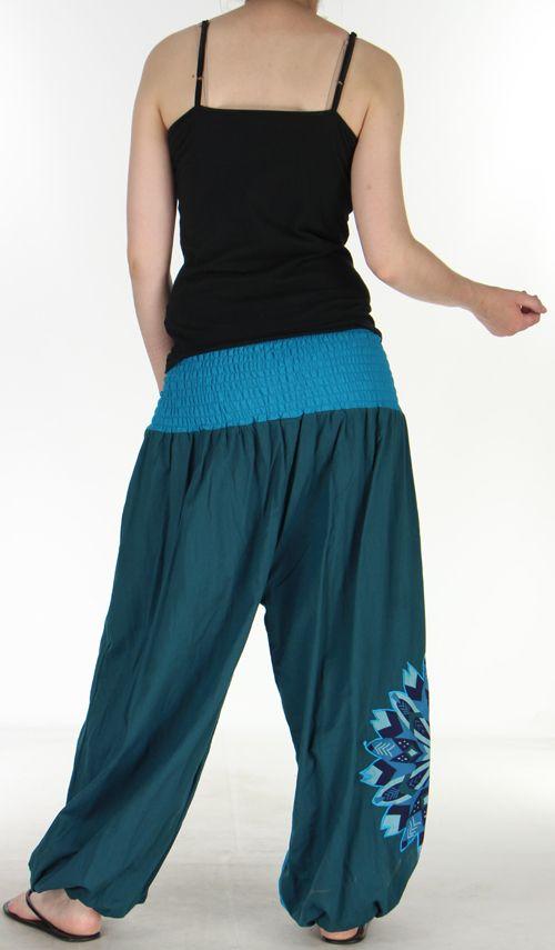 Superbe sarouel femme ethnique et original Bleu Uzima 273168