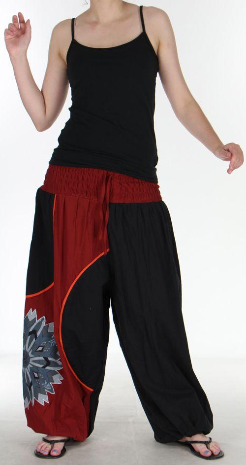 Superbe sarouel femme ethnique et original Noir & Bordeaux Uzima 273170