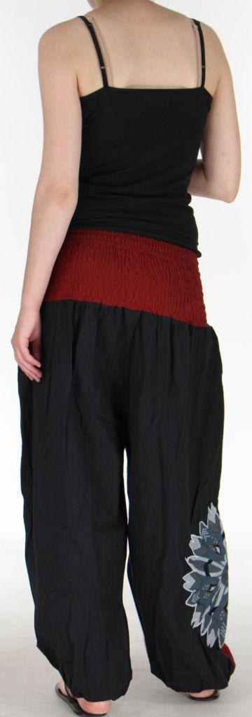 Superbe sarouel femme ethnique et original Noir & Bordeaux Uzima 273173