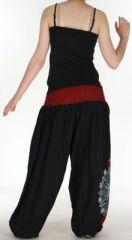 Superbe sarouel femme ethnique et original Noir & Bordeaux Uzima 273175