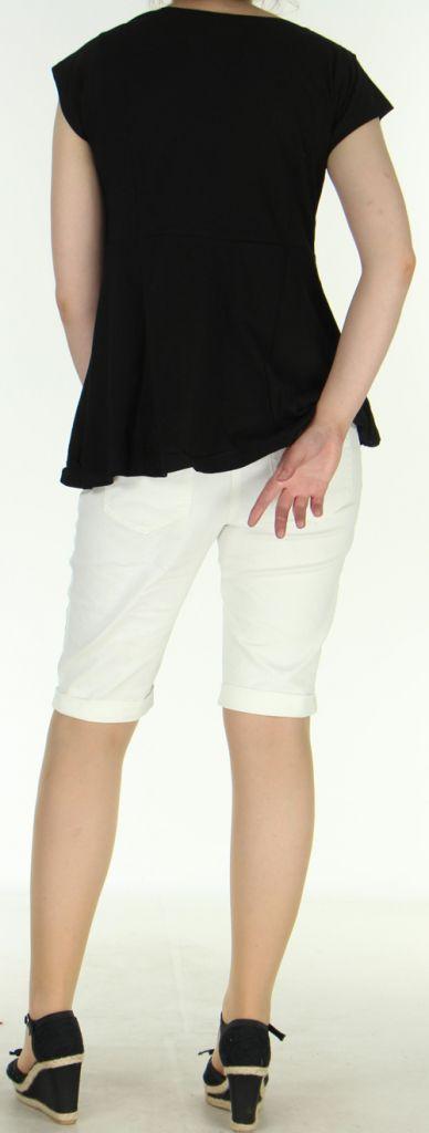 Superbe Tee-Shirt femme ethnique et ample Noir Dajan 273132