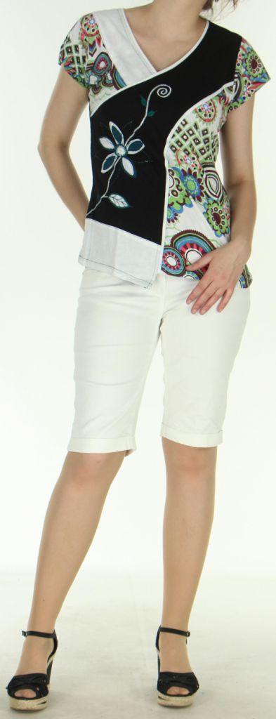 Superbe Tee-Shirt femme ethnique et asymétrique Blanc/Noir Eze 273119