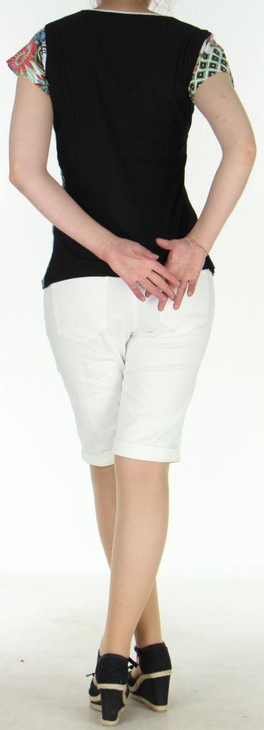 Superbe Tee-Shirt femme ethnique et asymétrique Blanc/Noir Eze 273120