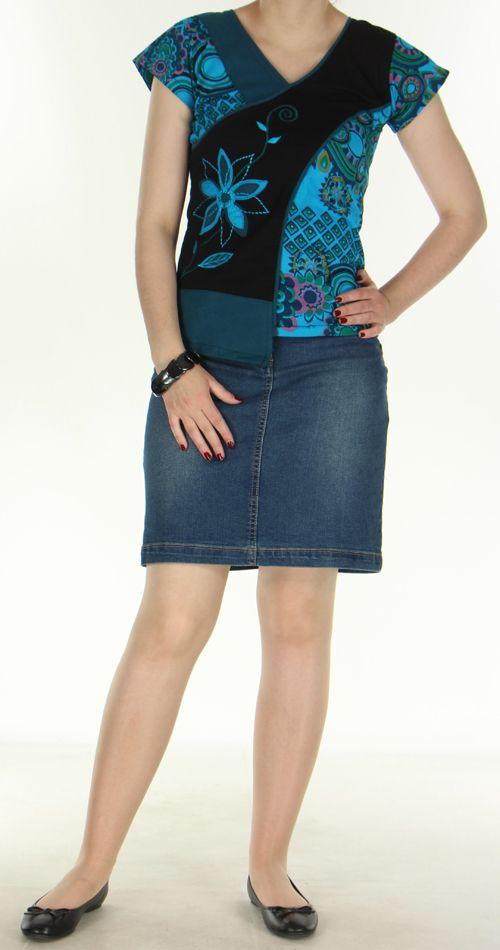 Superbe Tee-Shirt femme ethnique et asymétrique Bleu/Noir Eze 272319
