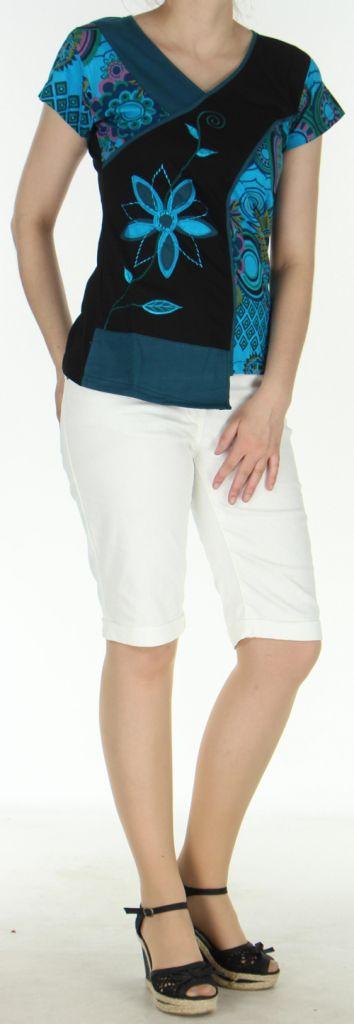 Superbe Tee-Shirt femme ethnique et asymétrique Bleu/Noir Eze 273123