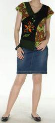 Superbe Tee-Shirt femme ethnique et asymétrique Vert/Noir Eze 272315