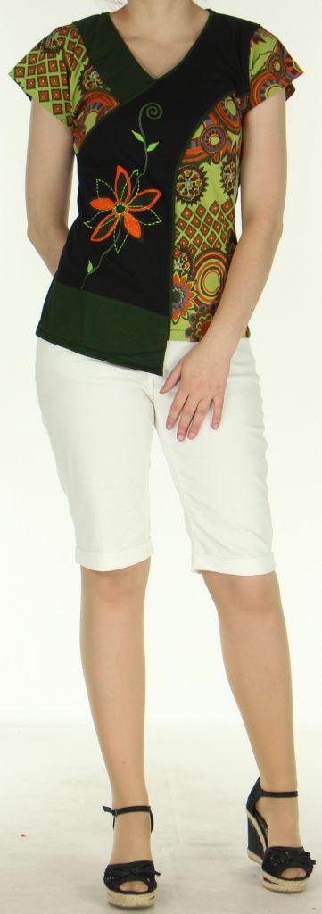 Superbe Tee-Shirt femme ethnique et asymétrique Vert/Noir Eze 273121