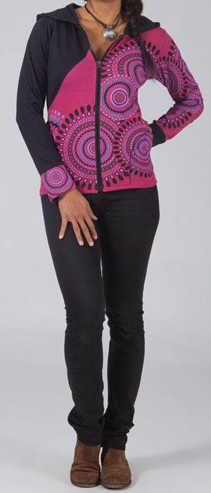 Sweat femme à capuche imprimé coloré et ethnique Achika 274083