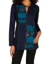 Sweat long femme Bleu imprimé hortensia avec capuche Eden 301395