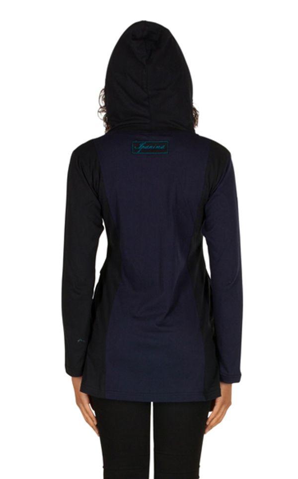 Sweat long femme Bleu imprimé hortensia avec capuche Eden 301397