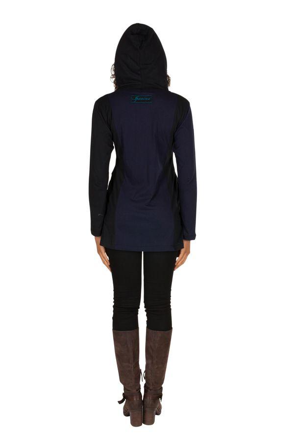 Sweat long femme Bleu imprimé hortensia avec capuche Eden 301398