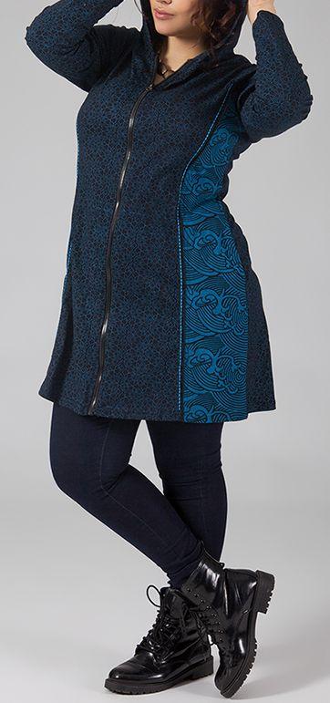 Sweat mi-long zippé Grande taille et Ethnique Ianis Bleu 274791