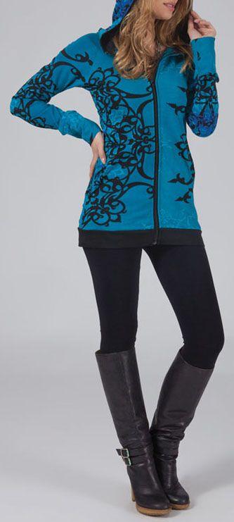 Sweat zippé à capuche Ethnique et Coloré Bleu Guido 274736
