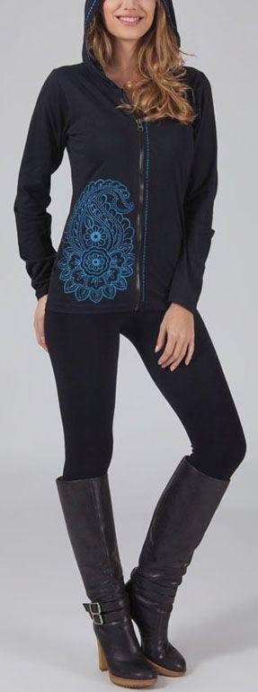 Sweat zippé à capuche Ethnique et Original Goran Noir et bleu 274722