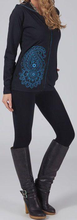 Sweat zippé à capuche Ethnique et Original Goran Noir et bleu 274723