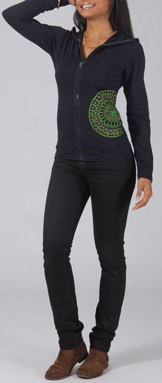 Sweat zippé à capuche Ethnique et Original Goran Noir et vert 274726