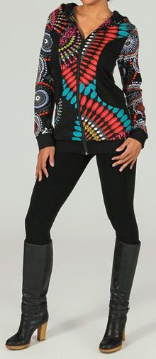 Sweat zippé à capuche Ethnique et Original très coloré Tilio 274113