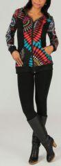 Sweat zippé à capuche Ethnique et Original très coloré Tilio 274114