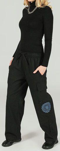 Sympathique pantalon femme original et ethnique Noir Angus 273652