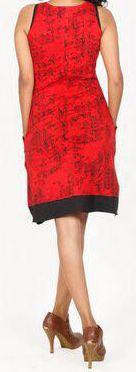 Sympathique robe courte d'été sans manches - ethnique - Rouge - Flavia 272068