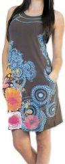 Sympathique robe courte ethnique et colorée Grise Kamélia 273296