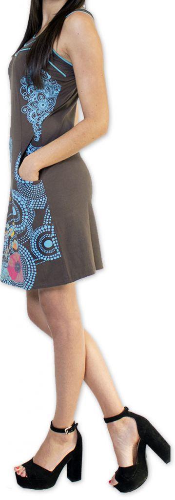 Sympathique robe courte ethnique et colorée Grise Kamélia 273299