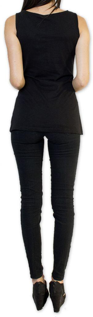 Sympathique Top/Débardeur femme imprimé et original Noir Mahé 273596