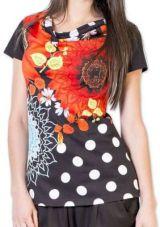 Sympathique Top femme à manches courtes coloré noir Esmé 273455