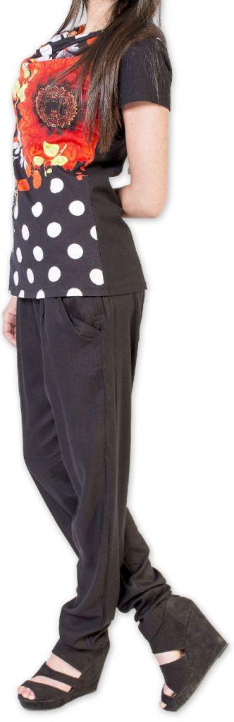 Sympathique Top femme à manches courtes coloré noir Esmé 273457