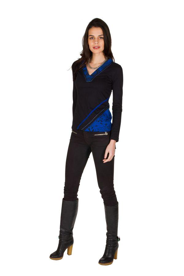 T-Shirt à manches longues Bleu imprimé avec col en V Mahal 301456