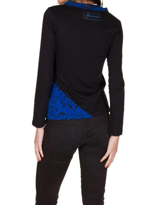 T-Shirt à manches longues Bleu imprimé avec col en V Mahal 301457