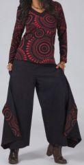 T-Shirt � manches longues Col V Original et Ethnique Rouge Clayton 274564