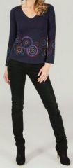T-Shirt à manches longues ethnique et original Violet Ladislas 273868
