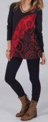 T-shirt à manches longues Imprimé et Original Damon Noir et Rouge 274569